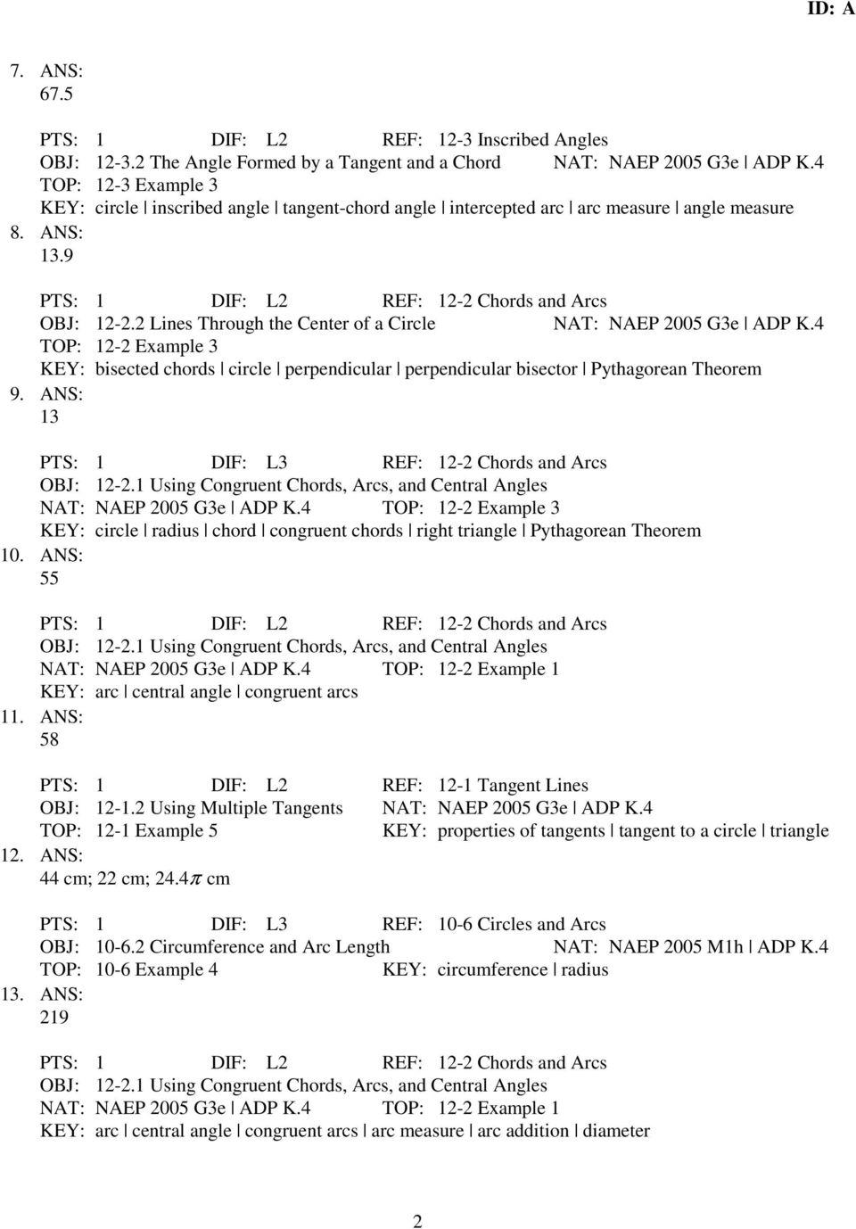medium resolution of GEOMETRY B: CIRCLE TEST PRACTICE - PDF Free Download