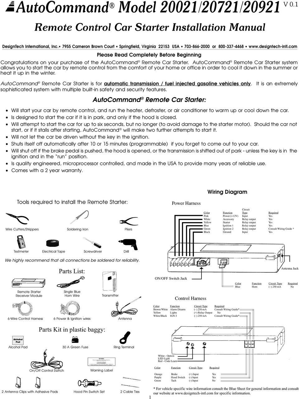 medium resolution of 1 remote control car starter installation manual designtech international inc 7955 cameron brown court