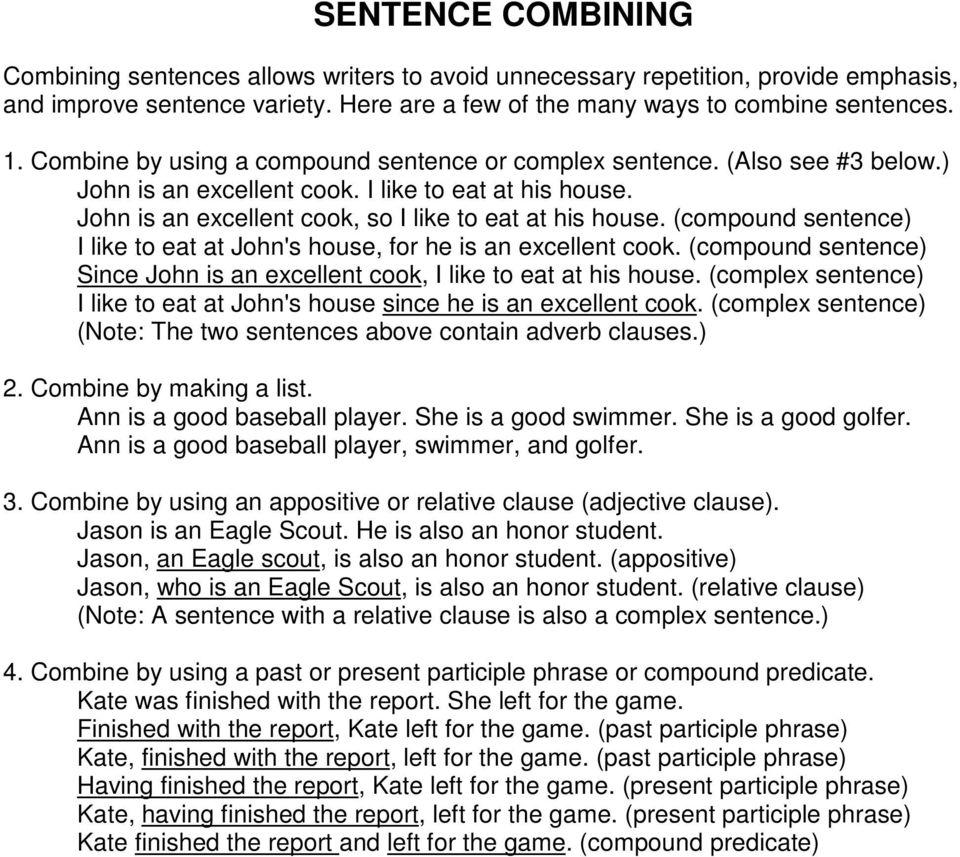 hight resolution of Las Vegas High School Writing Workshop. Combining Sentences - PDF Free  Download