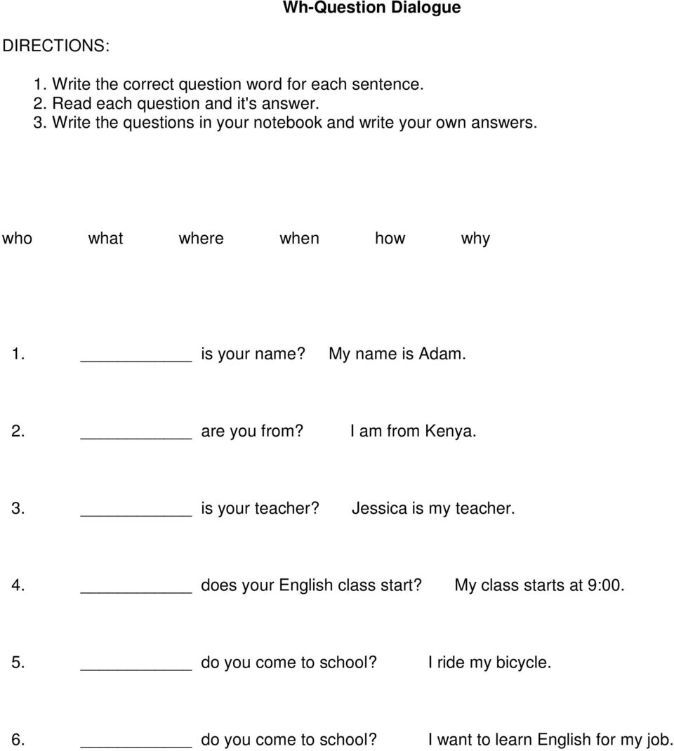 hight resolution of MASTER Wh Questions: Week 1 of 1. Unit Overview: - PDF Free Download
