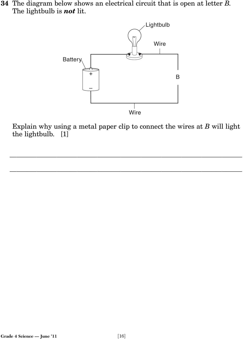 hight resolution of lightbulb battery wire b wire explain why using a metal paper