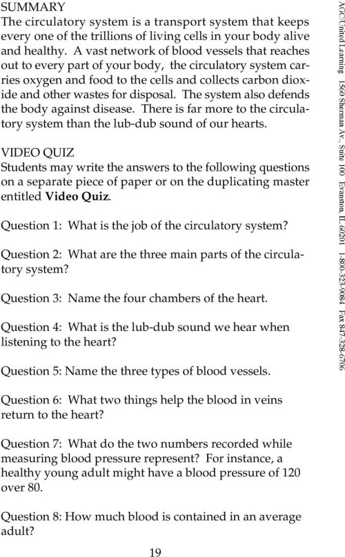 small resolution of THE CIRCULATORY SYSTEM from The Human Body Systems Series - PDF Free  Download