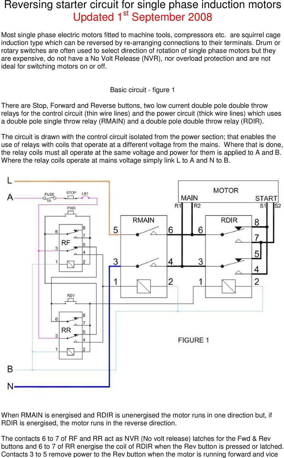 hight resolution of drum or rotary switches are often used to select direction of rotation of single phase motors