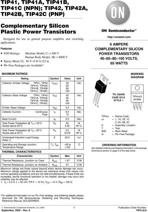small resolution of 125 in pbfree packages are available 6 ampere complementary silicon power transistors 4681 volts