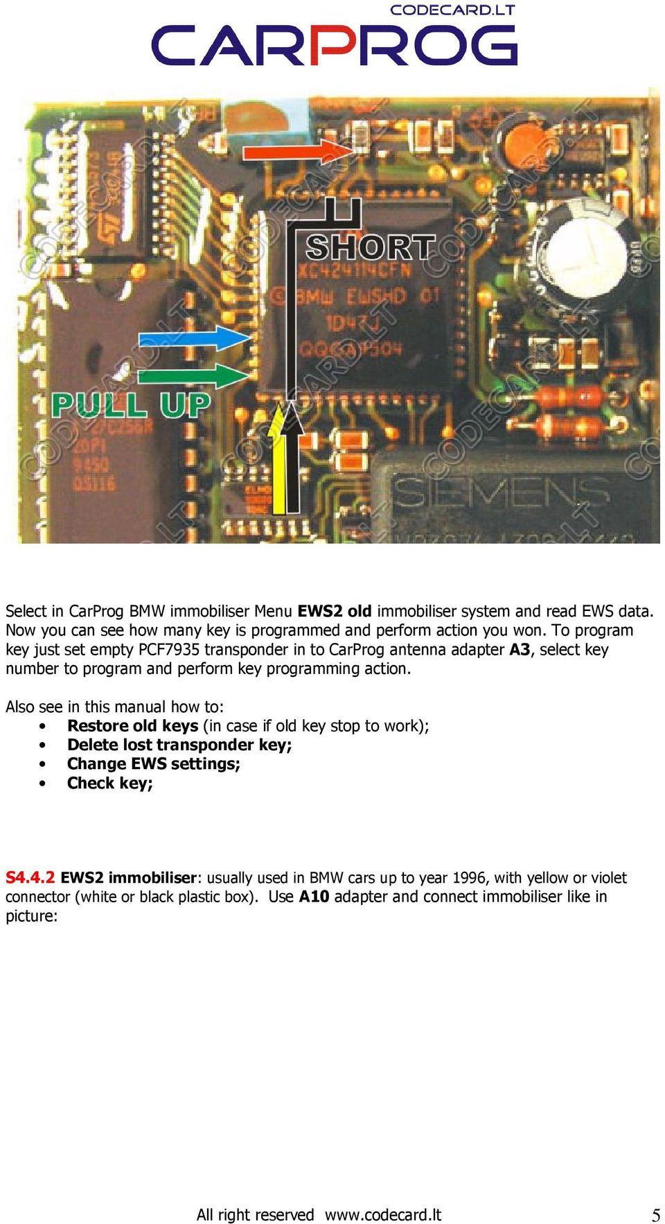 hight resolution of  array s4 4 carprog bmw key programmer manual pdf rh docplayer net