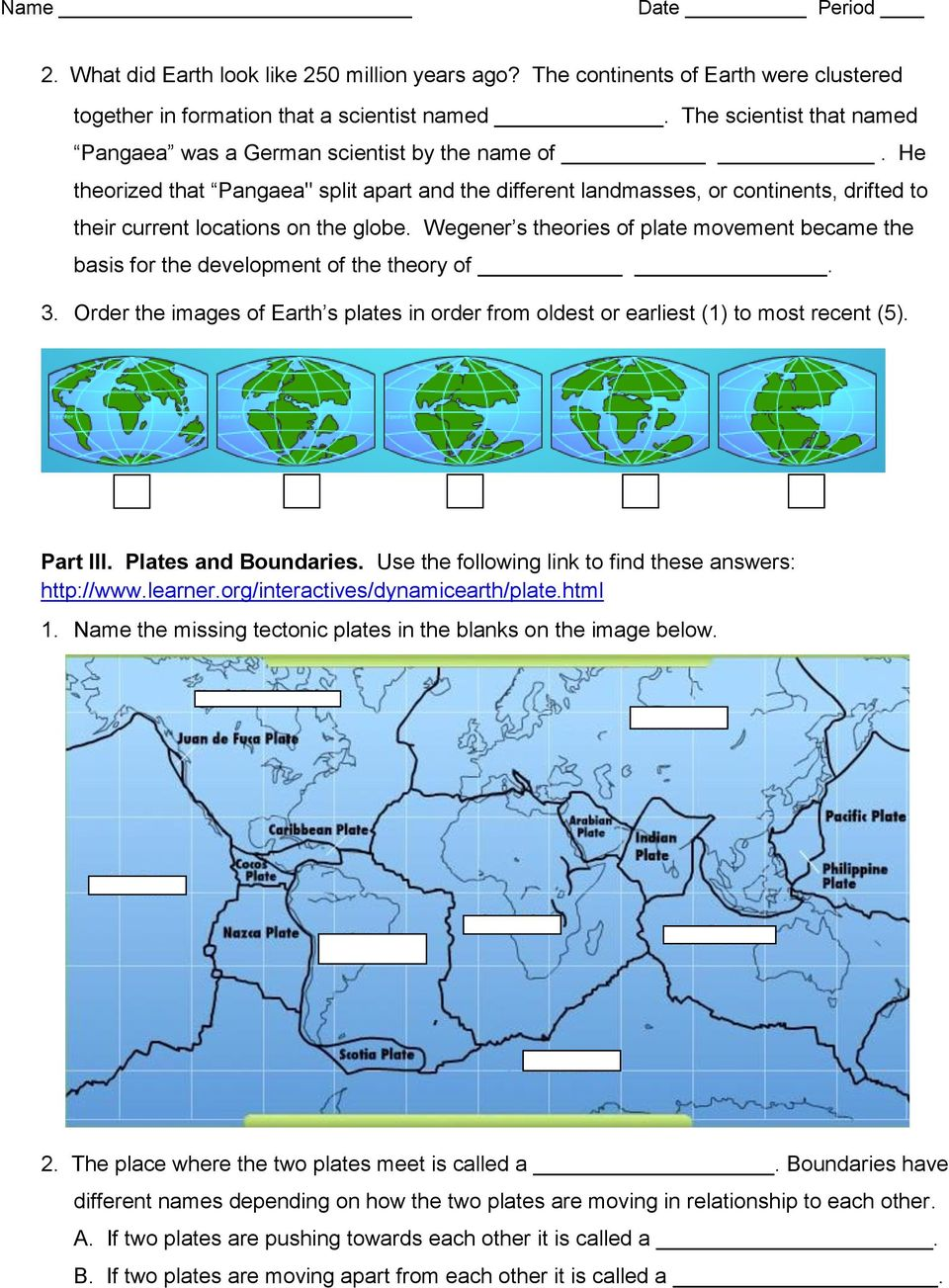 hight resolution of Plate Tectonics Web-Quest - PDF Free Download