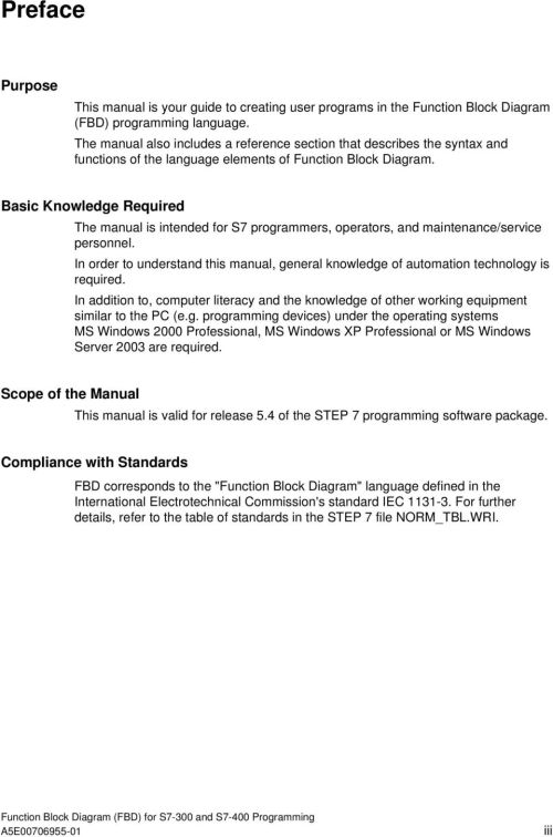 small resolution of basic knowledge required the manual is intended for s7 programmers operators and maintenance