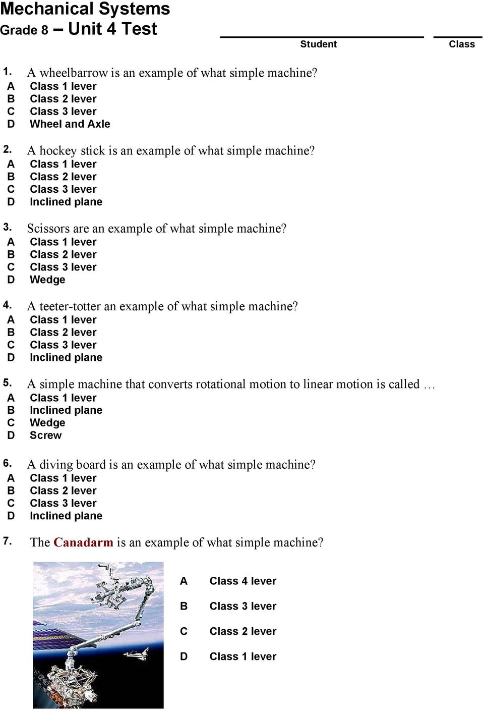 medium resolution of Mechanical Systems. Grade 8 Unit 4 Test. 1. A wheelbarrow is an example of  what simple machine? Class 1 lever. Class 2 lever. - PDF Free Download