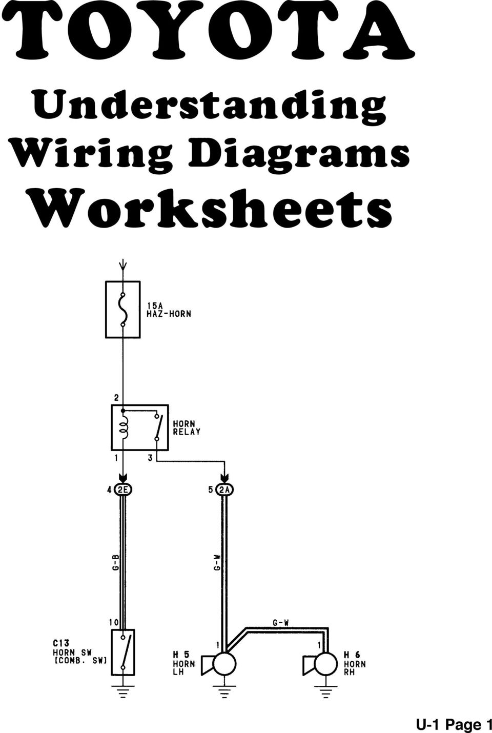 BODY ELECTRICAL TOYOTA ELECTRICAL WIRING DIAGRAM WORKBOOK