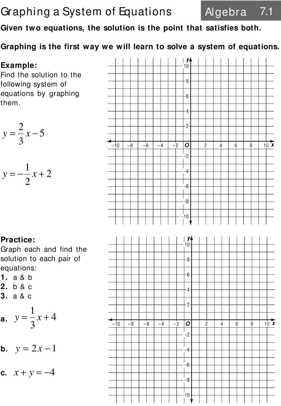 Graphing a System of Equations Algebra PDF