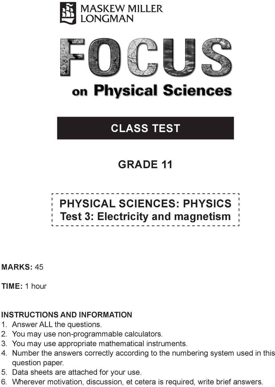 medium resolution of CLASS TEST GRADE 11. PHYSICAL SCIENCES: PHYSICS Test 3: Electricity and  magnetism - PDF Free Download