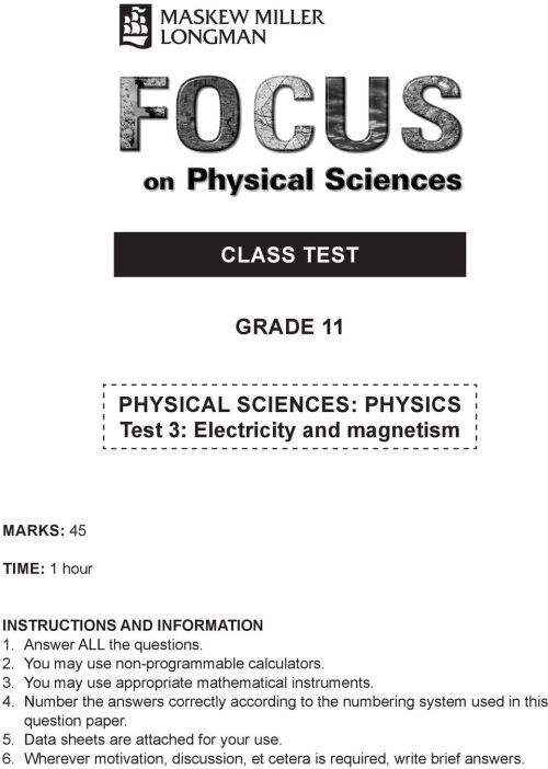 small resolution of CLASS TEST GRADE 11. PHYSICAL SCIENCES: PHYSICS Test 3: Electricity and  magnetism - PDF Free Download