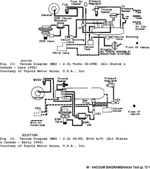1992 ENGINE PERFORMANCE Toyota Vacuum Diagrams Camry