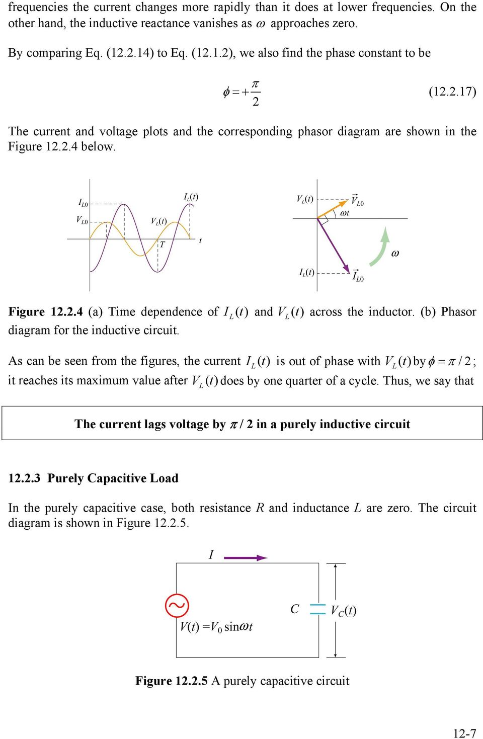 hight resolution of  purely capacitive circuit 1 7 4 below figure 1 4 a time dependence of i