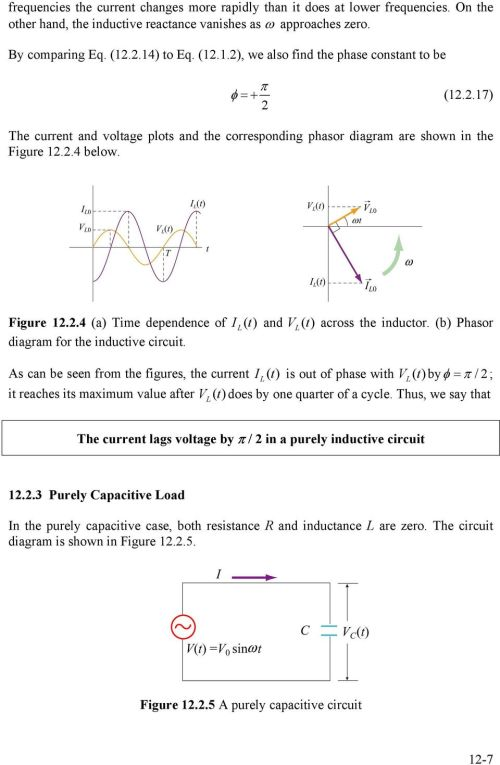 small resolution of  purely capacitive circuit 1 7 4 below figure 1 4 a time dependence of i