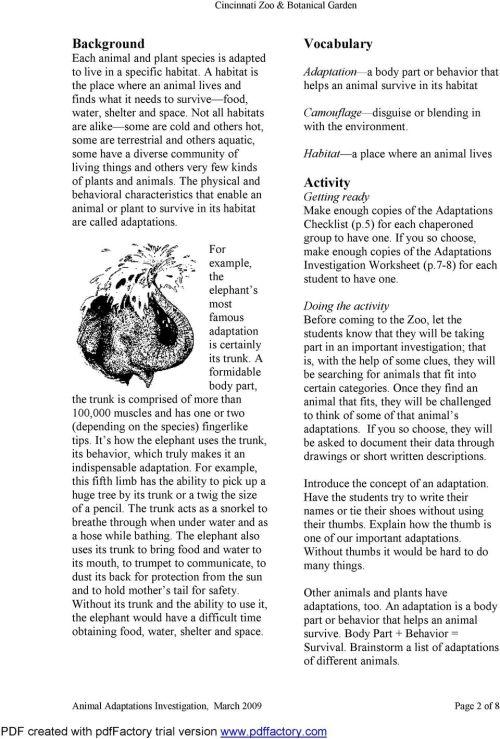 small resolution of Animal Adaptations Investigation (K-3) - PDF Free Download