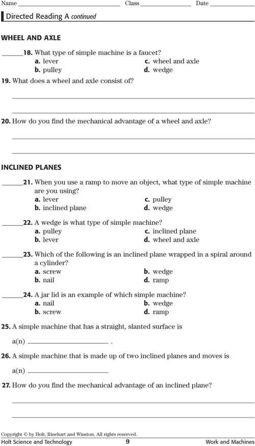 small resolution of Directed Reading A. Section: Types of Machines LEVERS - PDF Free Download