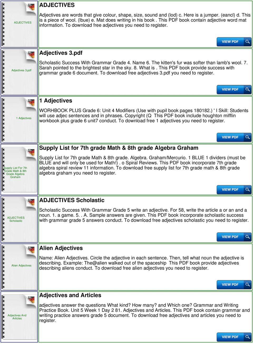 medium resolution of Adjectives List Grade 1 - PDF Free Download
