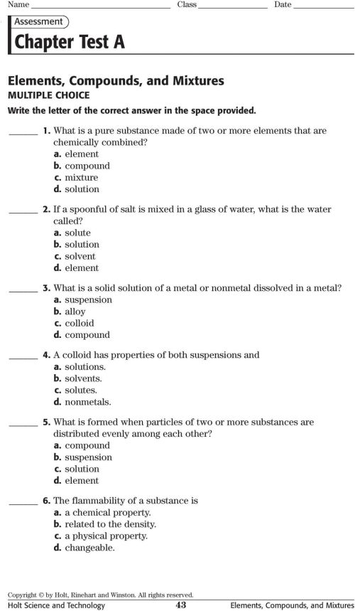 small resolution of Substances Mixtures And Solubility Worksheet Answers - Promotiontablecovers