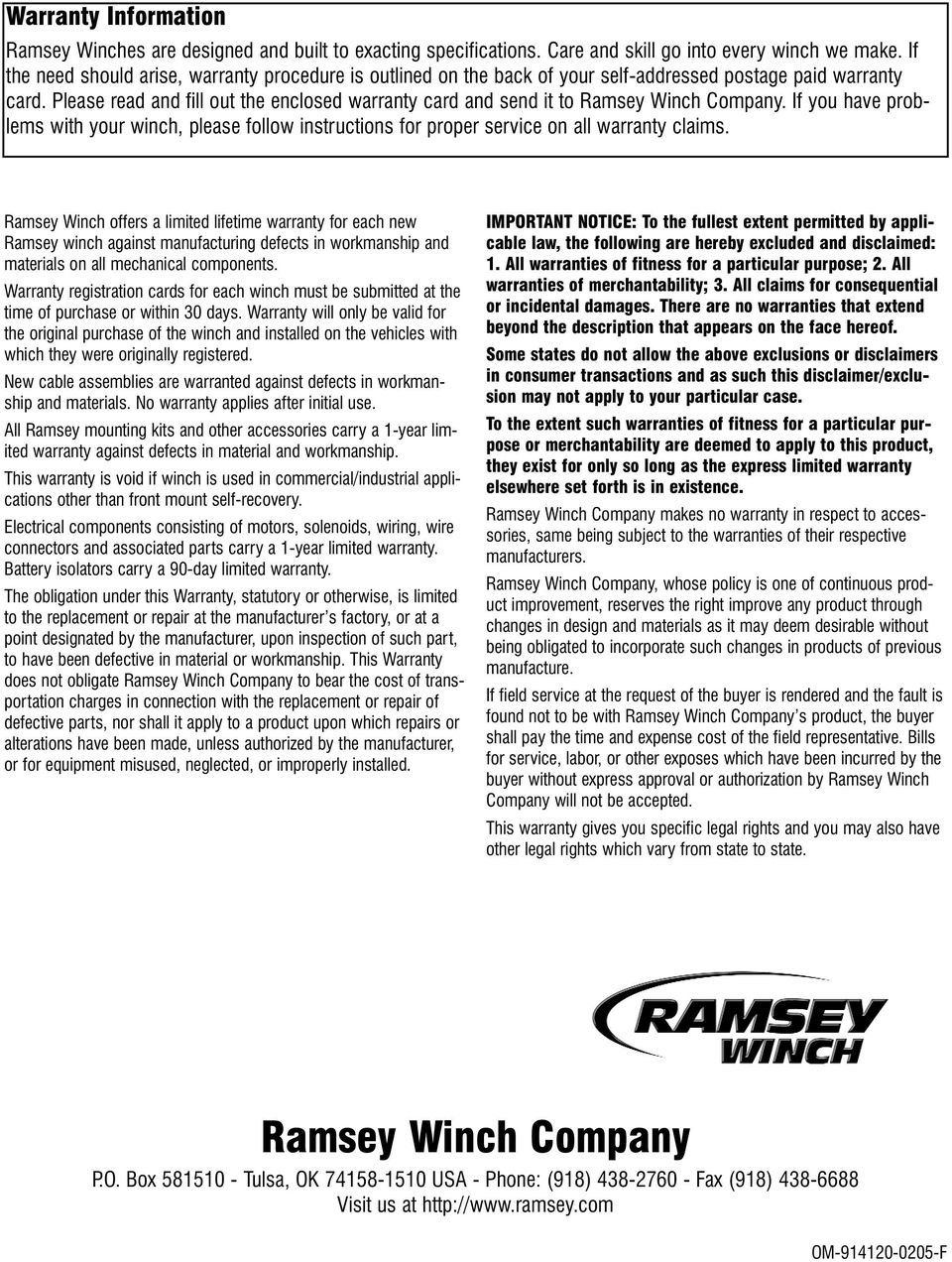 medium resolution of please read and fill out the enclosed warranty card and send it to ramsey winch company