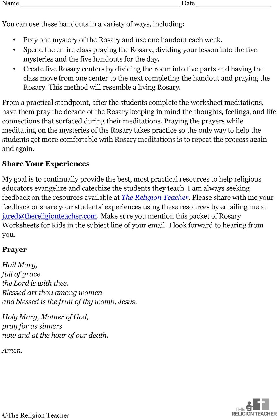 medium resolution of The Religion Teacher s Rosary Worksheets for Kids - PDF Free Download
