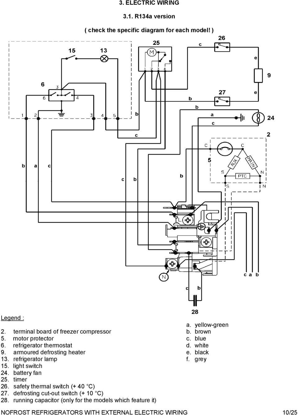 medium resolution of armoured defrosting heater e black 13 refrigerator lamp f grey 15 light