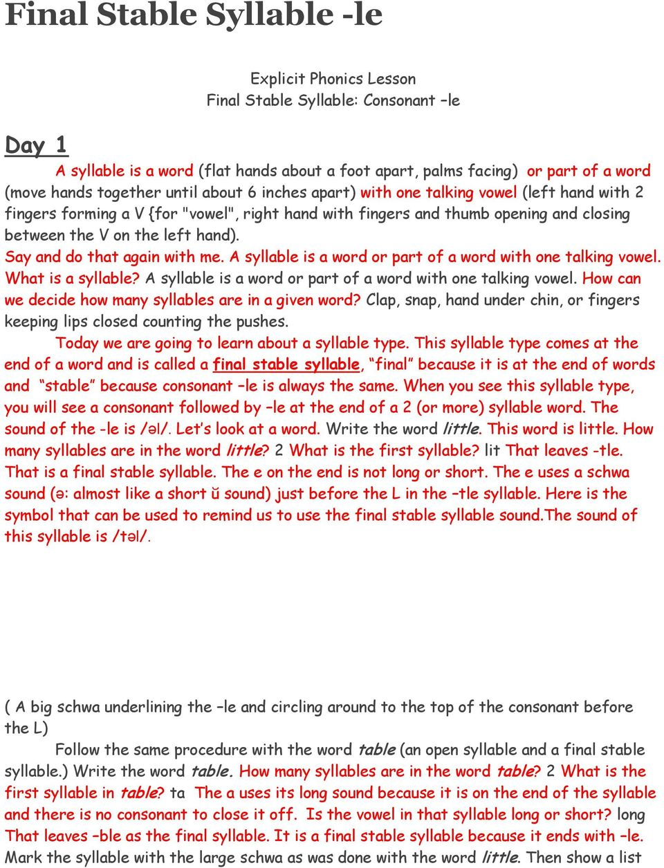 hight resolution of Final Stable Syllable -le - PDF Free Download