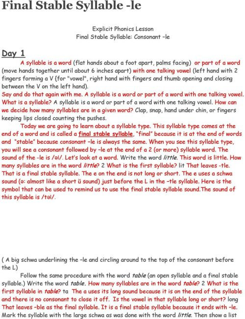 small resolution of Final Stable Syllable -le - PDF Free Download