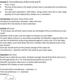 Circles: Circumference and Area Lesson Plans - PDF Free Download [ 1514 x 960 Pixel ]