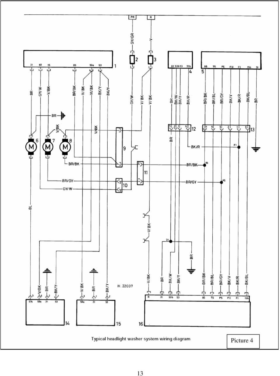 medium resolution of 14 key to headlighl washer syslem wiring diagram picture 4 1 control unit for headlight cleaners on fluid reservoir 2 fuse overnight tail and