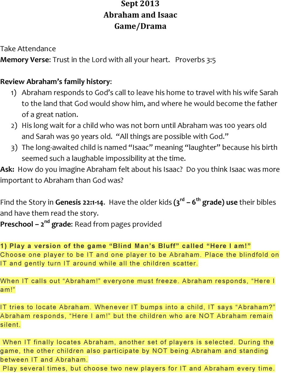 hight resolution of Sept 2013 Abraham and Isaac Game/Drama - PDF Free Download