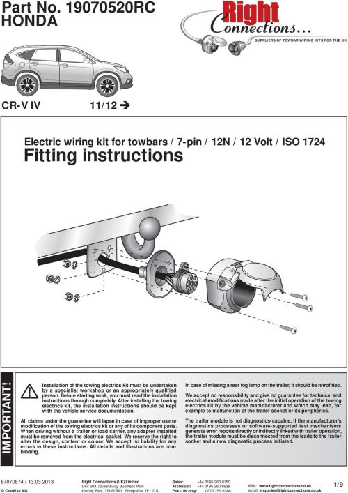 small resolution of before starting work you must read the installation instructions through completely suppliers of towbar wiring