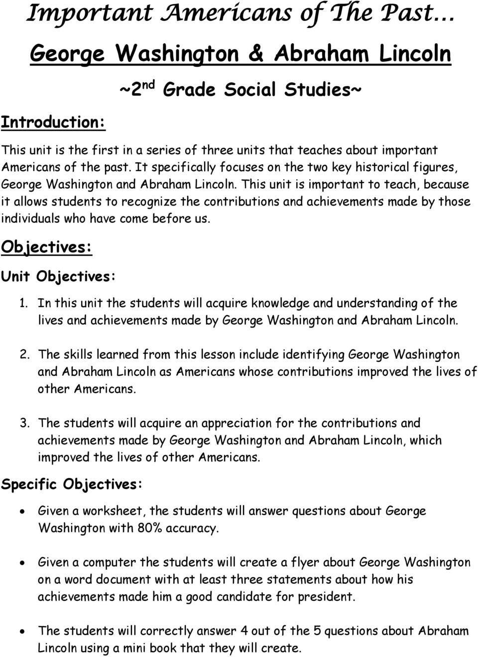medium resolution of George Washington and Abraham Lincoln ~Unit Plan~ - PDF Free Download