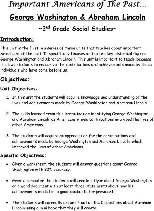 small resolution of George Washington and Abraham Lincoln ~Unit Plan~ - PDF Free Download