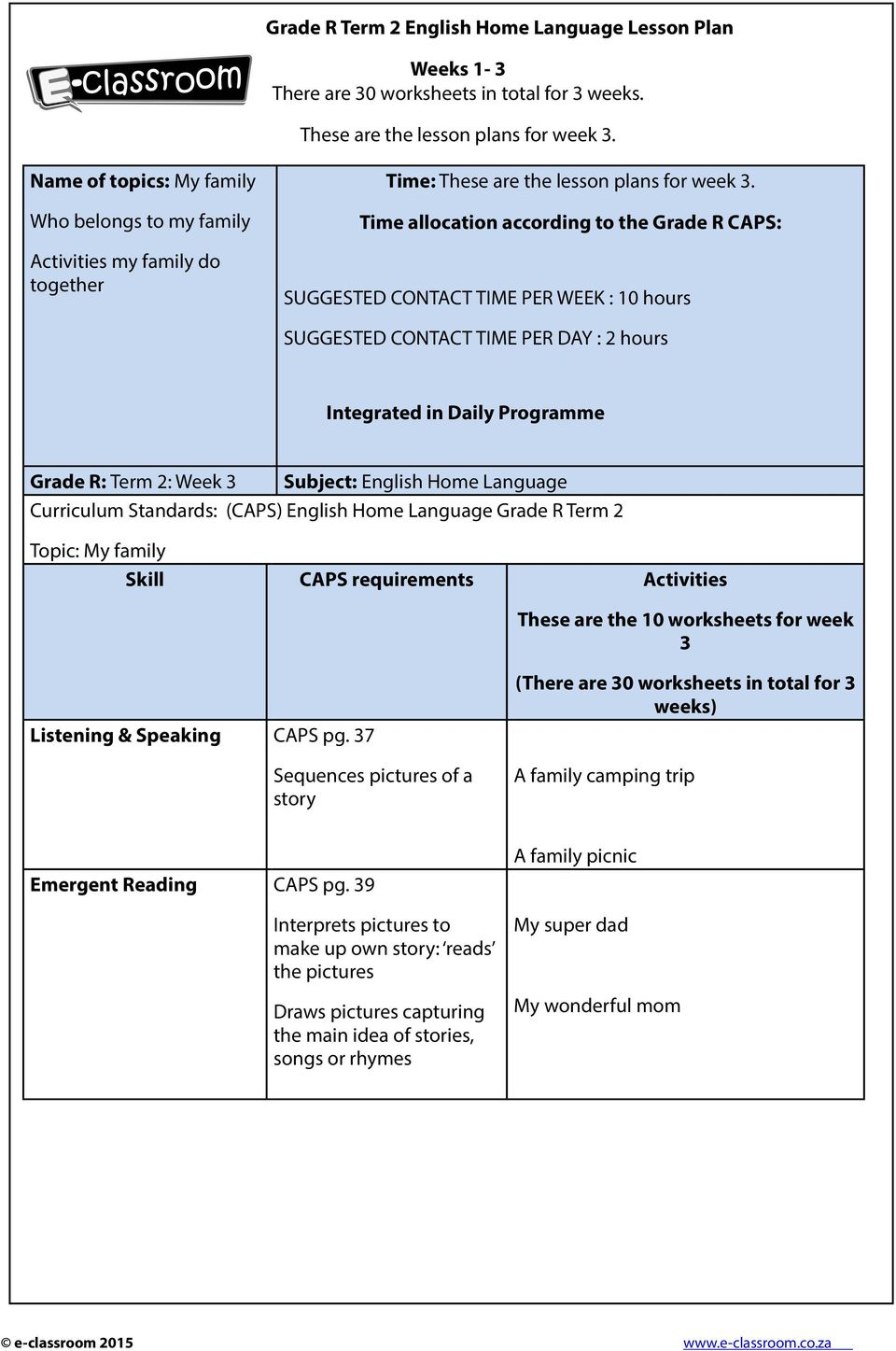 hight resolution of Grade R Term 2 English Home Language Lesson Plan. Weeks 1-3 There are 30  worksheets in total for 3 weeks. These are the lesson plans for week 3. -  PDF Free Download