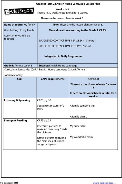 small resolution of Grade R Term 2 English Home Language Lesson Plan. Weeks 1-3 There are 30  worksheets in total for 3 weeks. These are the lesson plans for week 3. -  PDF Free Download