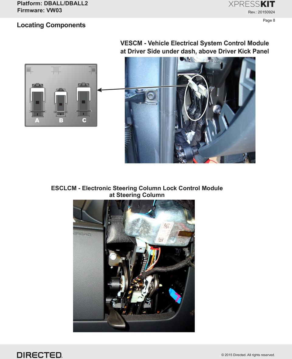 medium resolution of driver side under dash above driver kick panel a b c esclcm