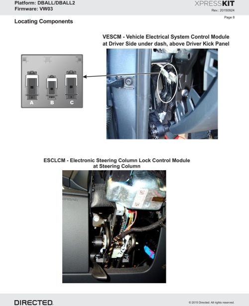small resolution of driver side under dash above driver kick panel a b c esclcm