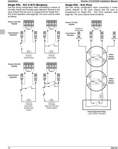 small resolution of the zone must be wired as follows premier 4 installation manual single eol