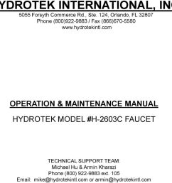 com operation maintenance manual hydrotek model h 2603c faucet technical support [ 960 x 911 Pixel ]