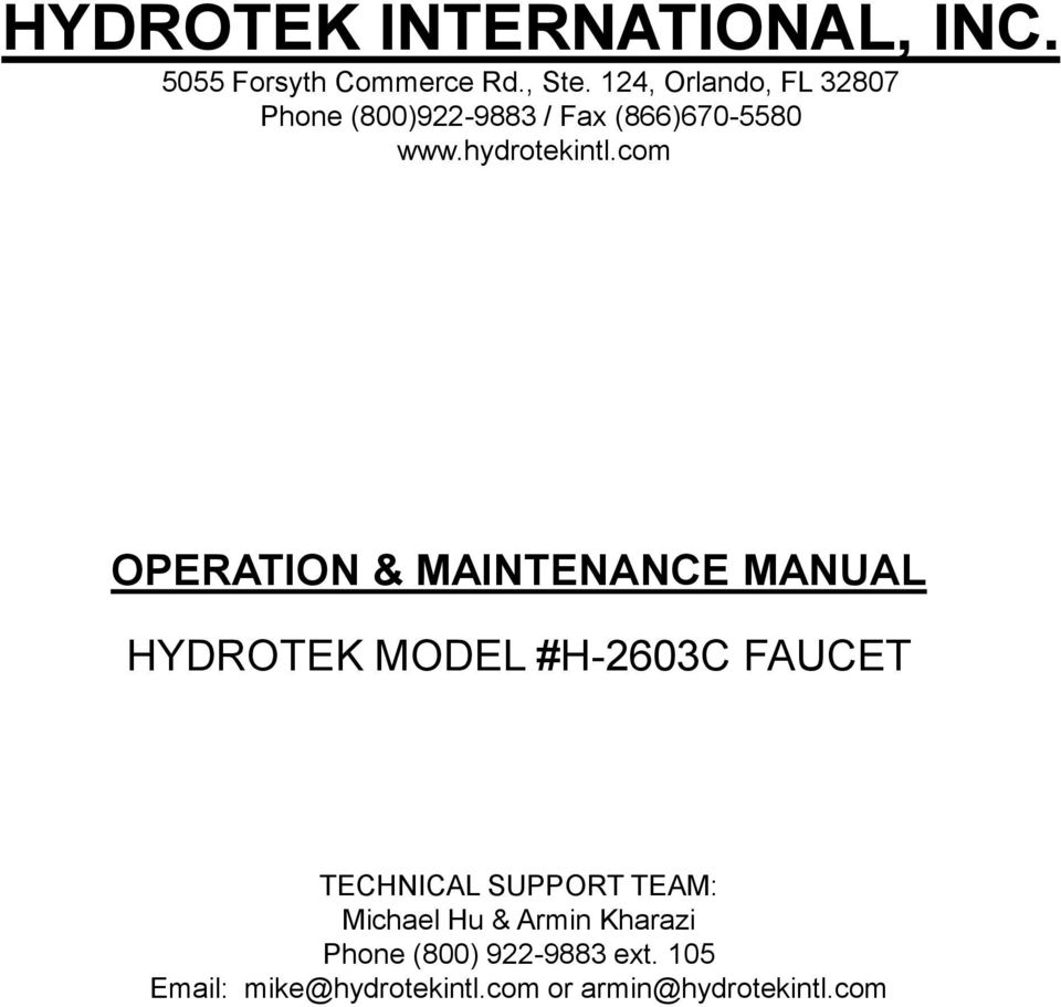 hight resolution of com operation maintenance manual hydrotek model h 2603c faucet technical support