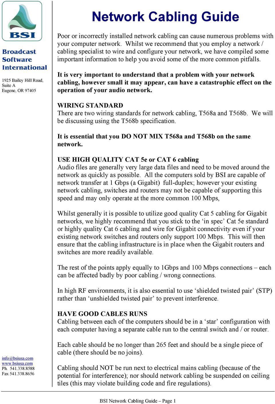 hight resolution of bsi network cabling guide page 1 1925 bailey hill road suite a eugene or 97405 it is very important to