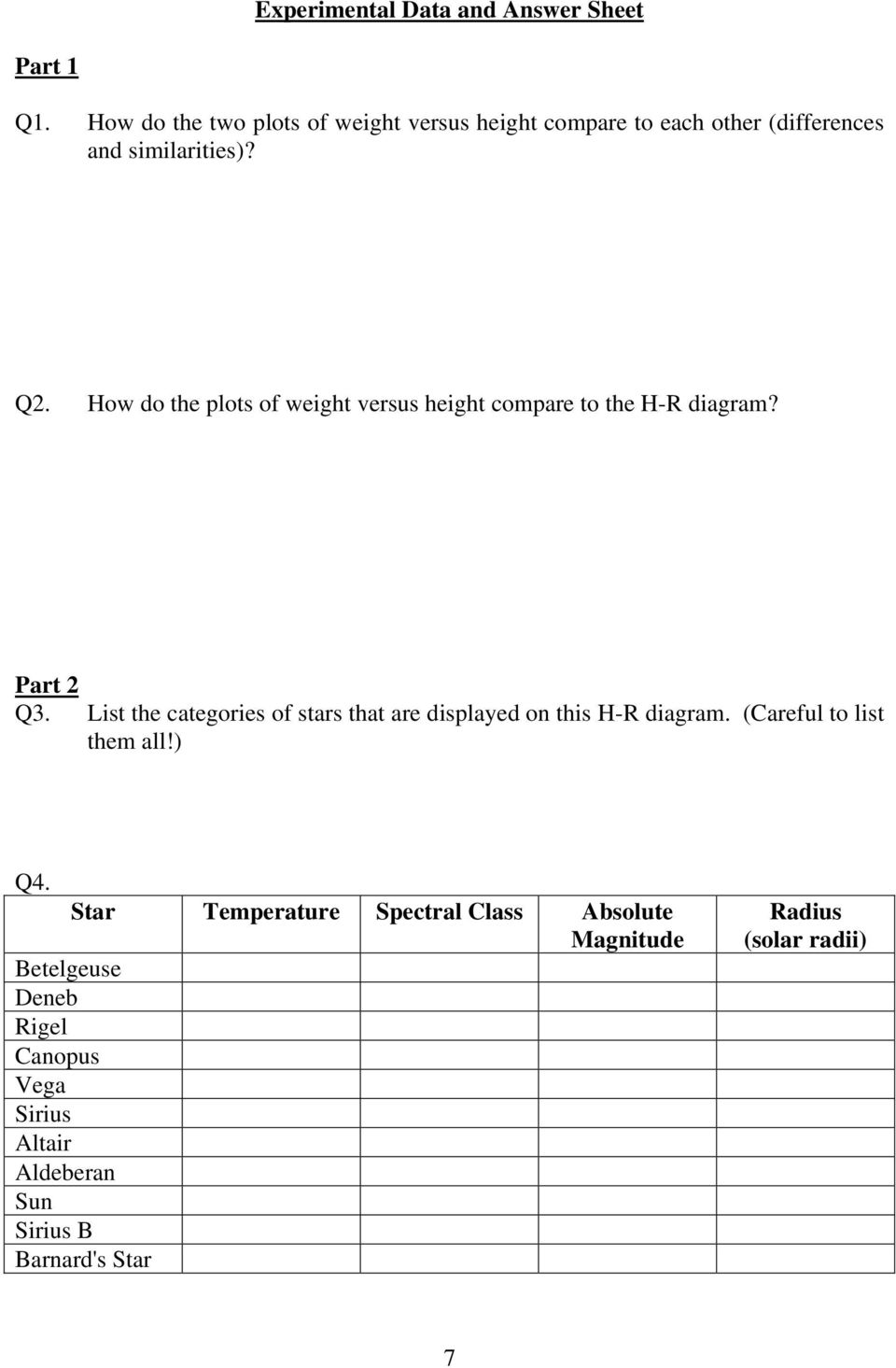 hight resolution of how do the plots of weight versus height compare to the h r diagram part 2