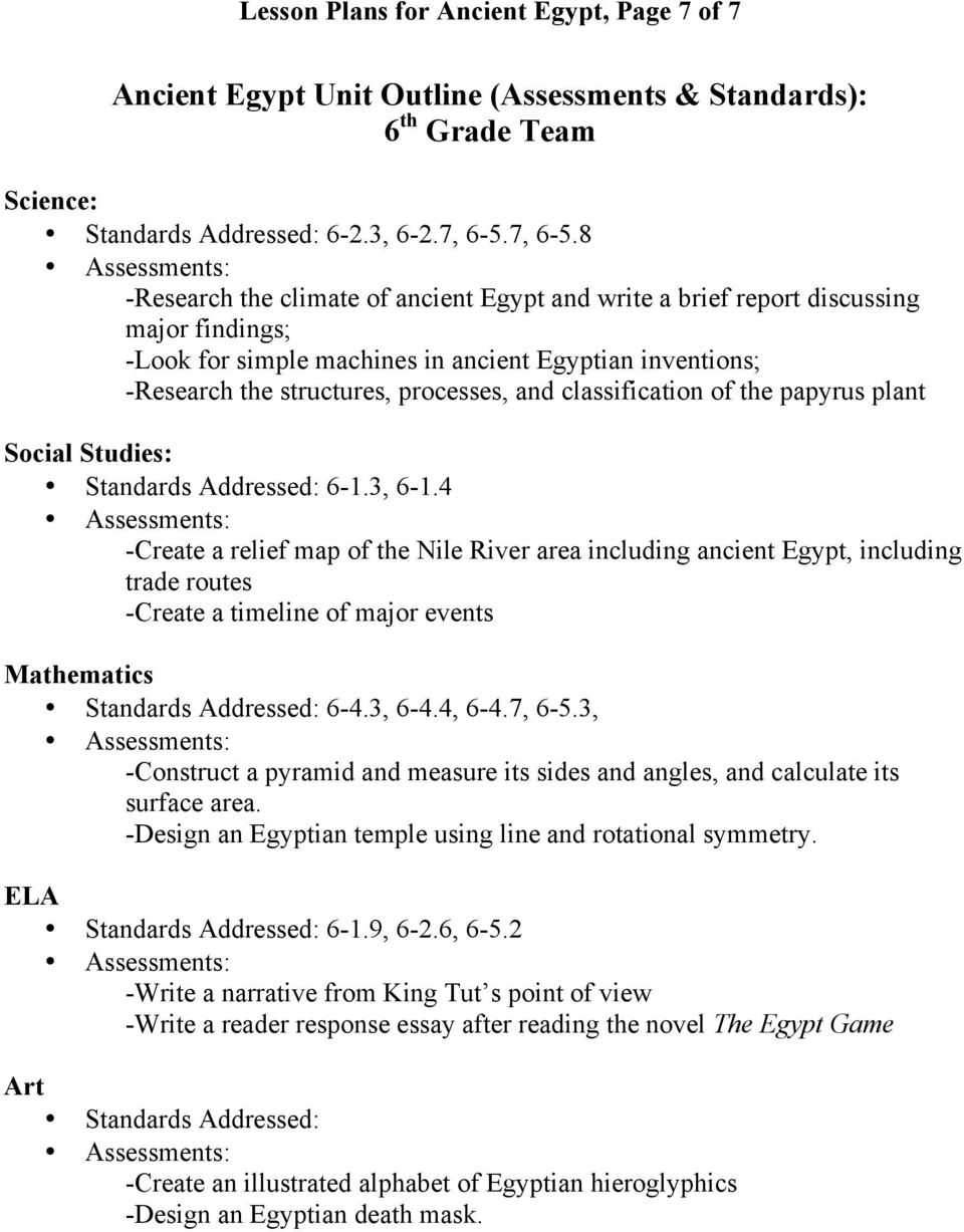 medium resolution of LESSON PLANS for Interdisciplinary Unit: Ancient Egypt - PDF Free Download