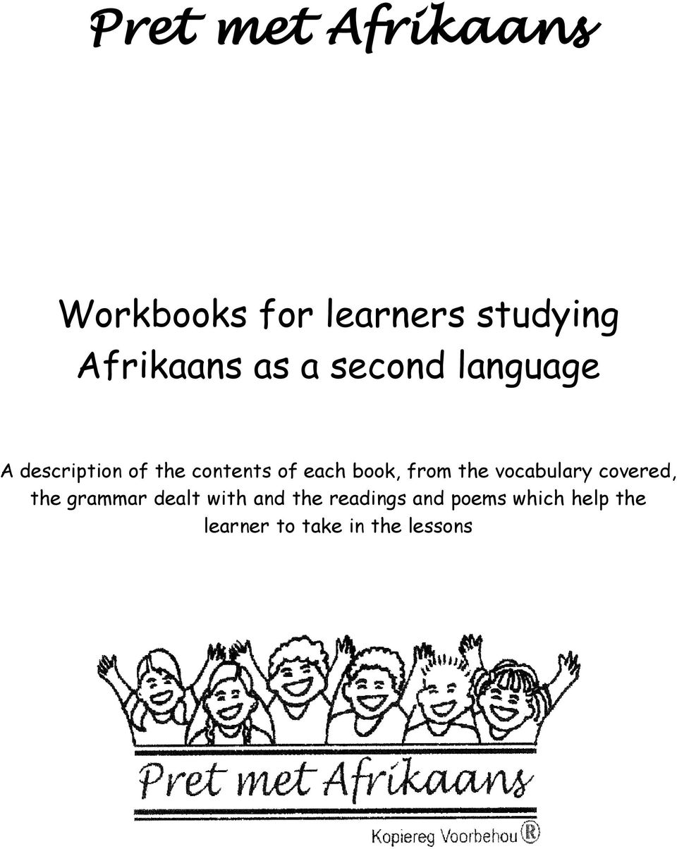 medium resolution of Pret met Afrikaans. Workbooks for learners studying Afrikaans as a second  language - PDF Free Download