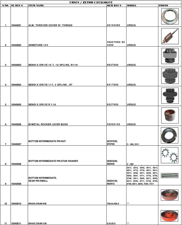 hight resolution of ursus 5 19540005 bendix drive r 11a 8527000 ursus 6 19540006 bimetal rocker lever bush 50505150
