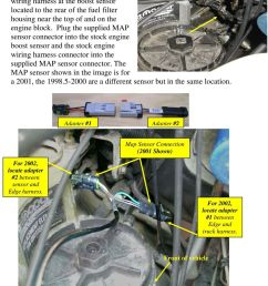 plug the supplied map sensor connector into the stock engine boost sensor and the stock engine [ 960 x 1424 Pixel ]