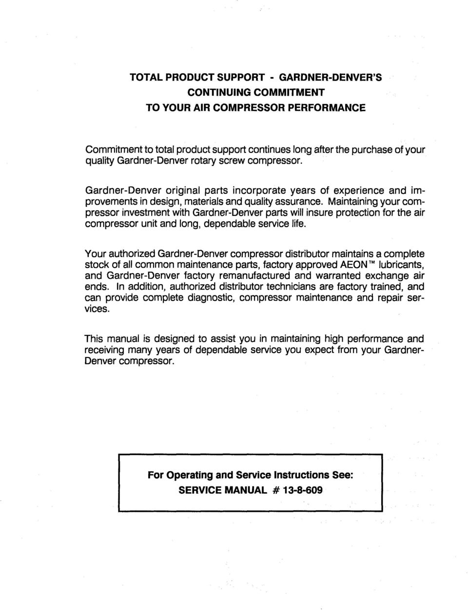 medium resolution of maintaining your compressor investment with gardner denver parts will insure protection for the air compressor