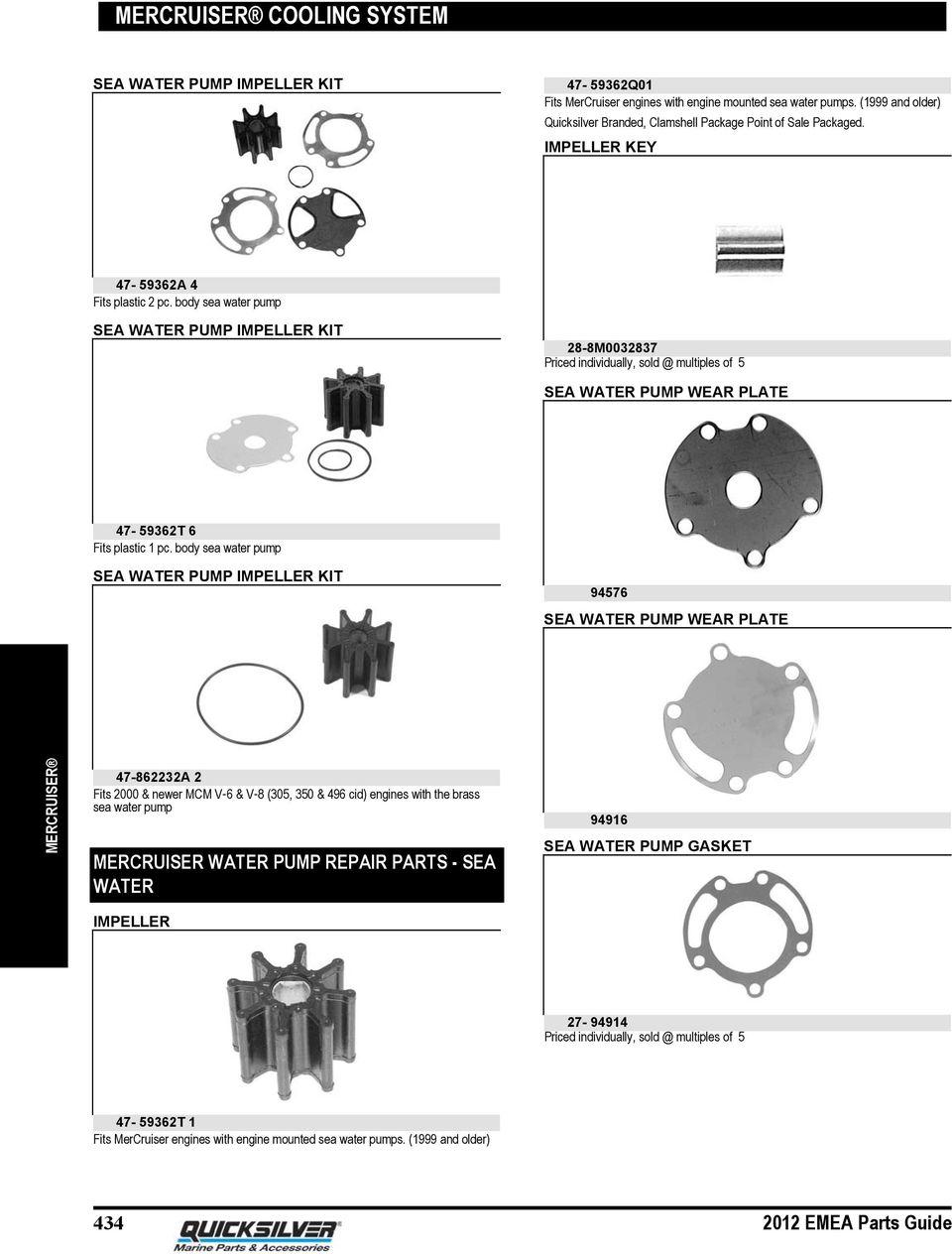 medium resolution of body sea water pump sea water pump impeller kit 28 8m0032837 priced individually sold