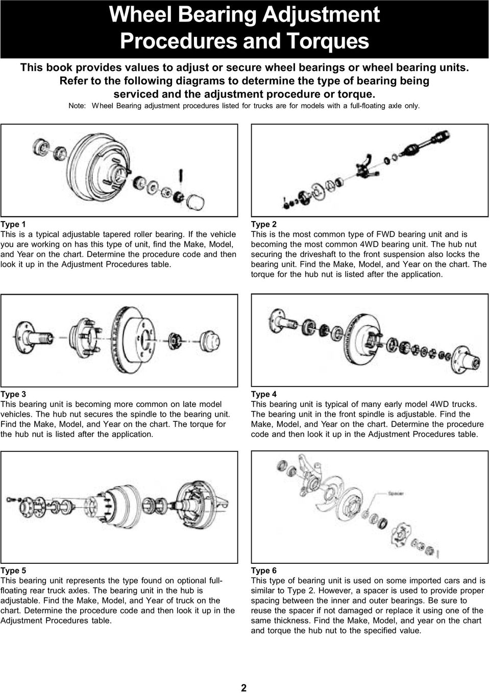 hight resolution of note wheel bearing adjustment procedures listed for trucks are for models with a full